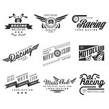 Vintage Motorcycle Labels, Badges, Text and Design Elements