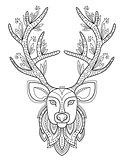 Patterned Deer Head with Big Antlers