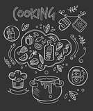 Cooking Vector Illustration, Chalkboard Drawing