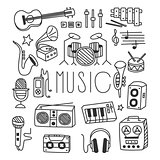 Musical Instruments in Handdrawn Style. Vector Illustration