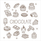 Chocolate and Sweets in Handdrawn Style. Vector Illustration