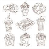 Fast Food Doodle Vector Set