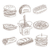 Fast Food Doodle Vector Collection