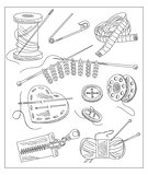 Sewing Accessories. Vector Illustration