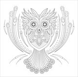 Zentangle Owl Coloring highly detailed isolated on white background, hand drawn illustrations. Vector monochrome sketch.