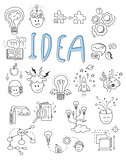 Idea, brainstorming icons in Doodle style vector illustration