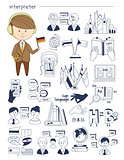 Interpreter, linguist, teacher, tutor Doodle style icons big set vector
