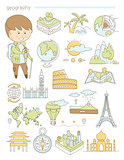 Geography and travel, teacher geographer Doodle style icons big set vector
