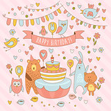 Happy birthday holiday card with cute animals, bear, rabbit, owl and the Pussycat. Having fun