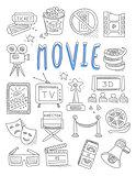Cinema doodles set of hand drawn  vector