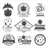 Cotton badges design, organic product. Vector