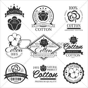 Cotton badges design, organic product. Vector