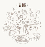 Wok illustration. Asian frying pan. Concept illustration for restaurant