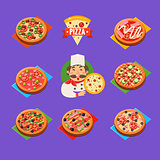 Pizza Icons Vector Set