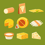 Different Types of Cheese, Flat Vector Illustration Set