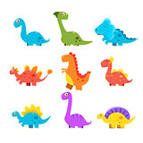 Small Colourful Dinosaur Set. Cute Vector Collection
