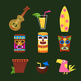 Hawaii Surf Retro Posters Collection in Flat Design Style. Colourful Vector Illustration.