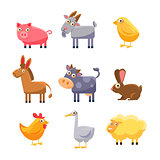 Farm Animal Collection. Vector Illustration Set