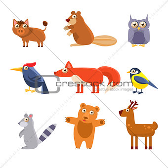 Cute Wild Forest Animals. Vector Illustration Collection