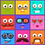 Cartoon Faces with Emotions and Mustache. Vector Set