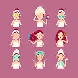 Women in Beaty Saloon. Flat Vector Illustration