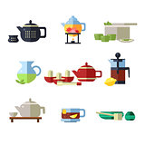 Tea Cup and Kettle Set. Vector Illustration