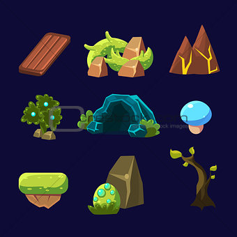 Forest Elements for Game. Vector Illustration Set