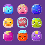 Funny Colorful Square Faces Set, Emotional Cartoon Vector Avatars
