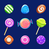 Colorful Glossy Candies with Sparkles. Vector Illustration Set