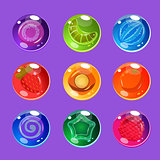 Bright Colorful Glossy Candies with Sparkles for Games. Vector Illustration Set