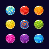 Colorful Glossy Stones and Buttons with Sparkles. Vector Illustration Collection