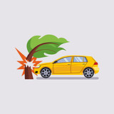 Car Insurance and Crash Risk Vector Illustration