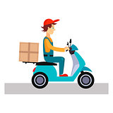 Delivery Man on a Bike, Vector Illustration