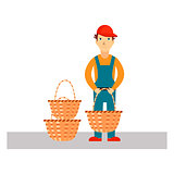 Delivery Man with Baskets, Vector Illustration