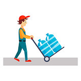Delivery Man with Water, Vector Illustration
