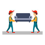 Delivery Man with Sofa, Vector Illustration