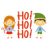 Cute kids and Christmas elements vector