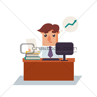 Business Man Thinking Cartoon Character Vector Illustration