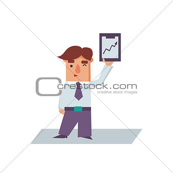 Business Man with Graph Cartoon Character Vector Illustration