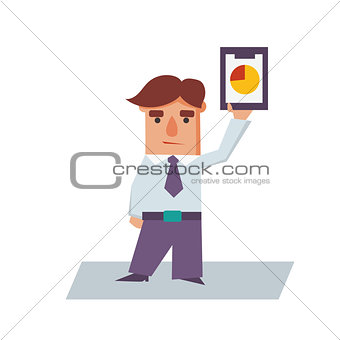 Business Man holding Graphics Cartoon Character Vector Illustration