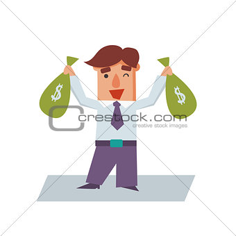 Business Man with Bags of Money Cartoon Character Vector Illustration