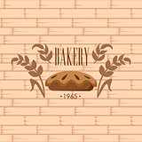 Bakery Logo on Brick Wall Beackground