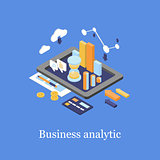 Business concept 3d isometric infographic data analytics
