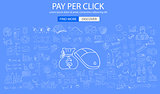 Pay Per Click concept with Doodle design style business solution