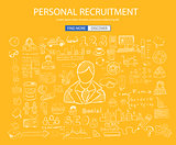 Personal recruitment concept  with Doodle design style