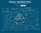 Email Marketing concept with Doodle design style