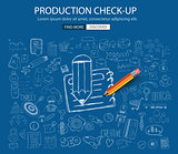Production Check Up concept with Doodle design style