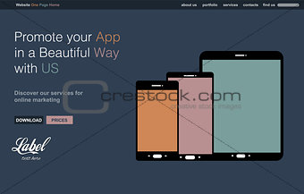 One Page Clear Modern Website template for an App showcase with smartphone and tablets flat style icons ans space for text.