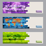 Cool banner set of three with abstract stripes
