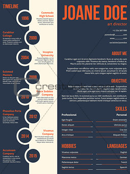 Modern resume cv template beginning with timeline